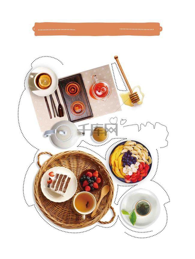 小清新茶馆饮小清品店菜单宣传海报背景模板