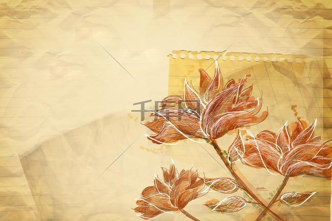 橘红色莲花大气背景素材