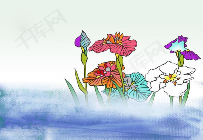 红白荷花花池背景素材