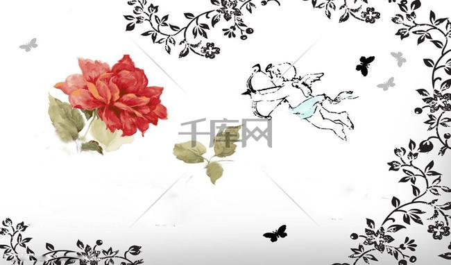 手绘玫瑰花藤丘比特背景素材