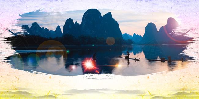 墨迹桂林山水甲天下旅游海报背景素材