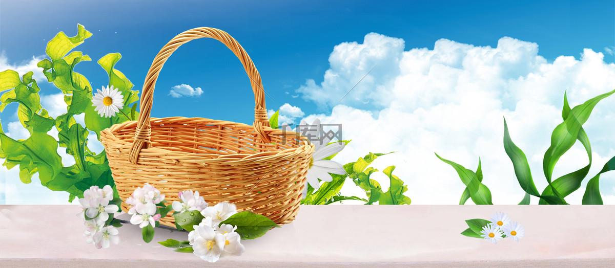春天文艺小清新篮子蓝banner