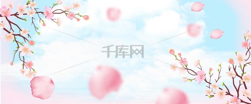 桃花节文艺花瓣大气蓝banner