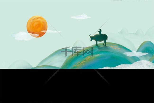 清明踏青放牛背景素材