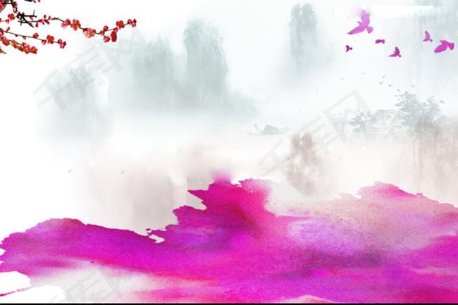 枚红色水墨画梅花背景素材