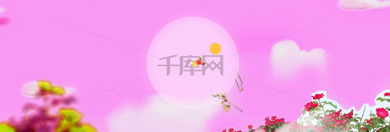 天猫粉色系女装春天清新花卉淡雅背景