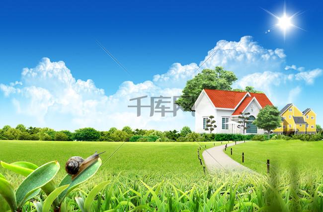 郊外绿色唯美自然风光PSD海报背景素材