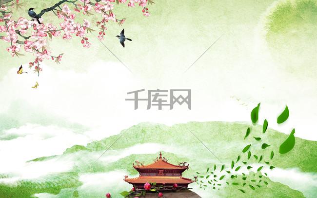 水墨绿色桃花春天海报背景素材