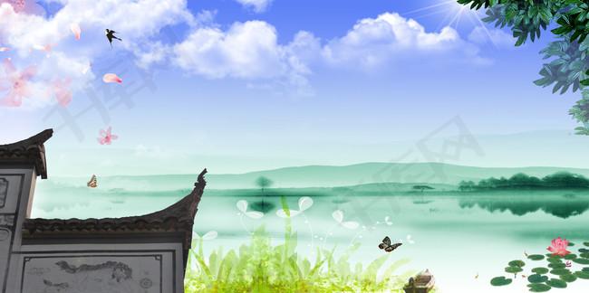 水墨山水唯美意境屋檐清明节海报背景素材