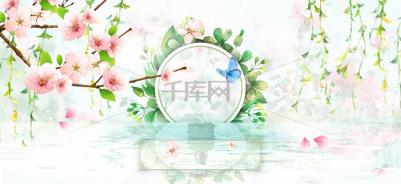 清新唯美古风桃花节化妆品春天海报