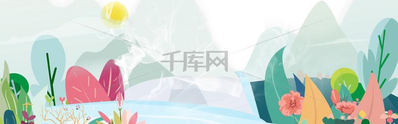 淘宝天猫春季护肤banner背景
