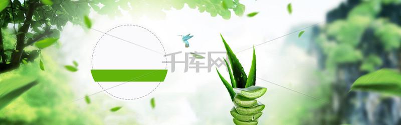 简约绿色春装创意banner背景