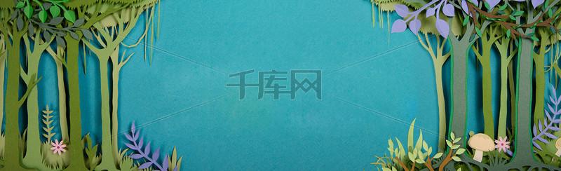小清新简约手绘春装banner背景