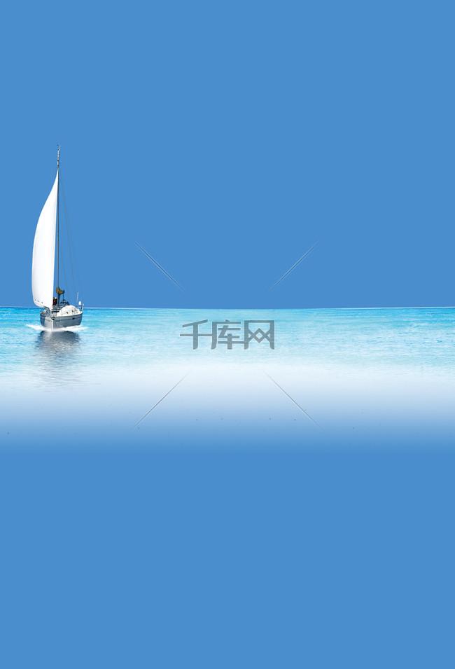 蓝色大海帆船夏季派对背景