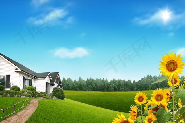 绿色唯美自然风光海报背景素材