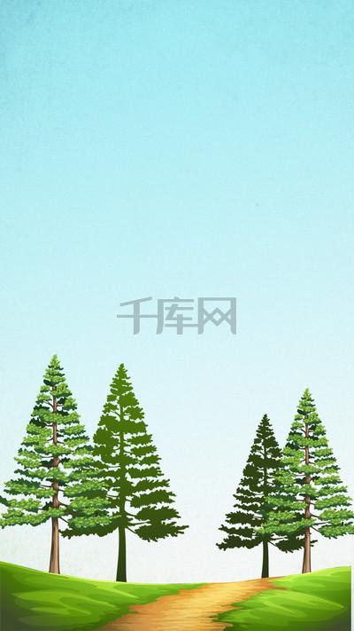 简约小清新树木h5分层背景