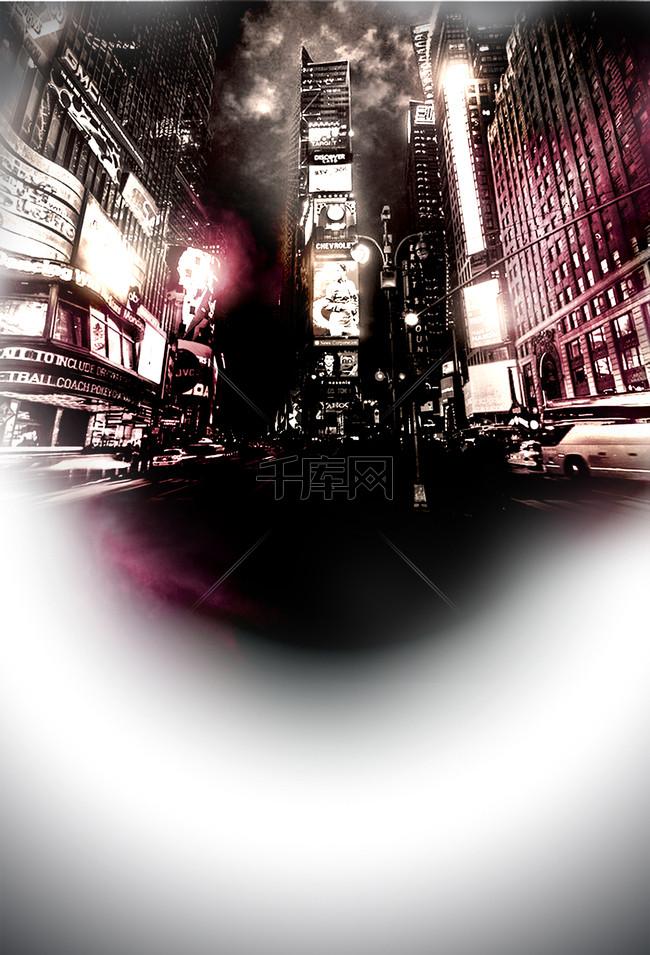 城市夜景梦幻聚会派对背景