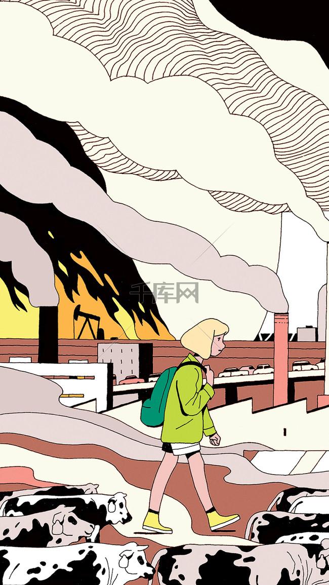 卡通大气污染H5分层背景