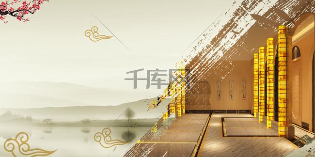 中国风盐浴汗蒸房广告海报背景素材