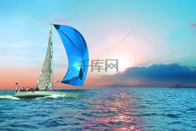 扬帆起航企业文化宣传PSD海报设计
