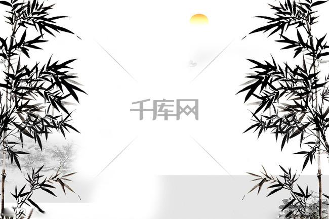 水墨竹子红日背景素材
