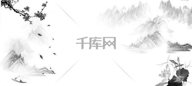 中国水墨山水海报背景图