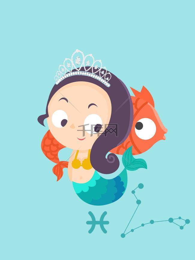 十二星座创意插画-双鱼座海报背景模板