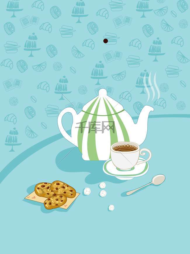 手绘咖啡店吃货节创意海报背景模板
