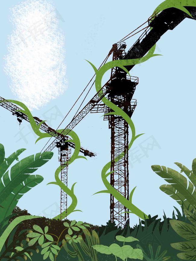 手绘森林创意公益海报背景模板