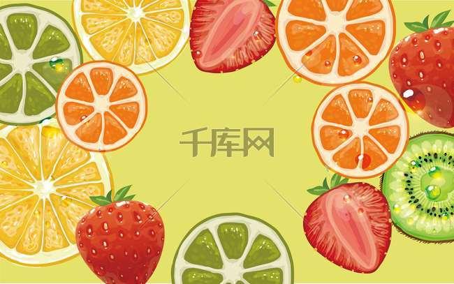 手绘水果创意矢量海报背景模板