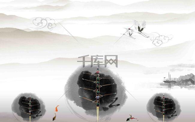 中国风企业文化展板背景模板