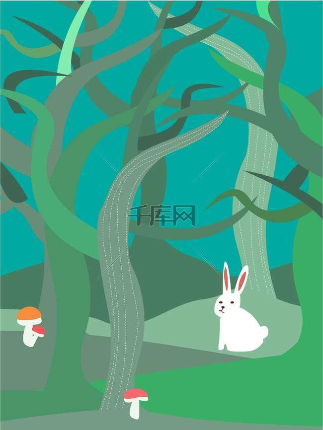 手绘森林环保公益海报背景模板
