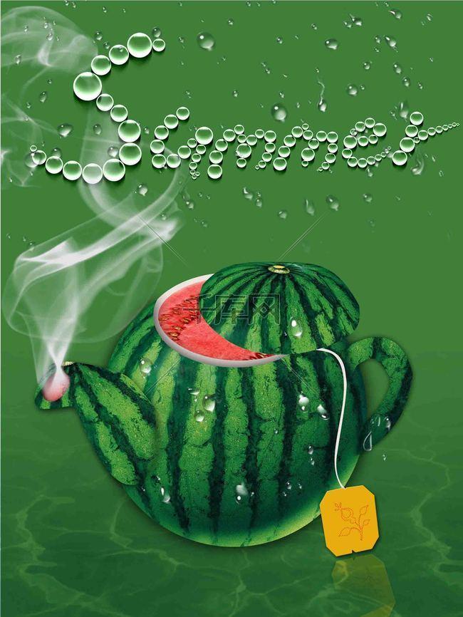 水壶创意大西瓜海报背景模板
