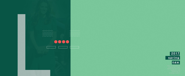 撞色几何绿色深绿L形服装促销活动广告背景