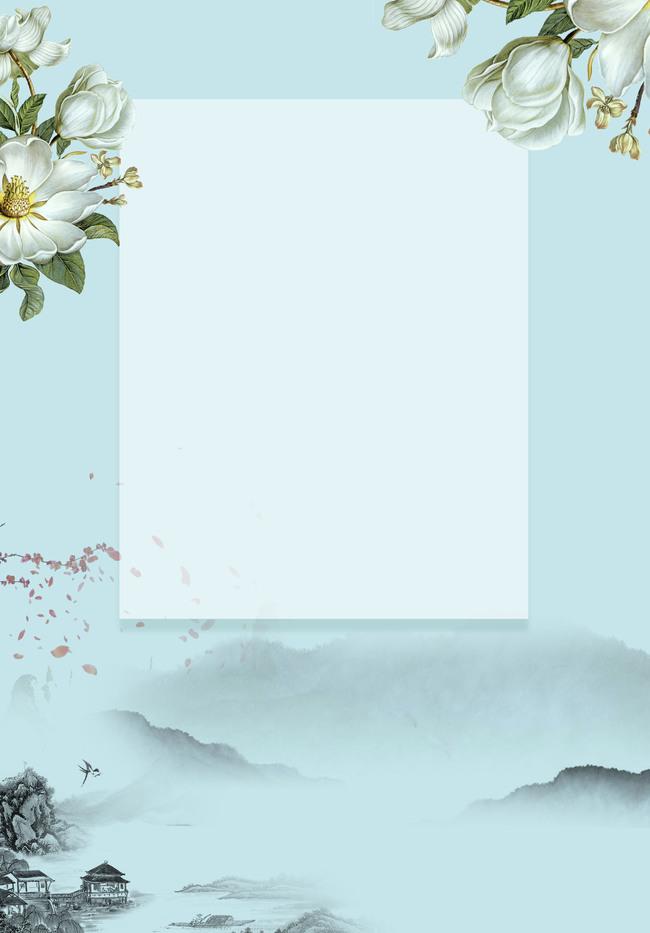 背景图片素材淡雅_淡雅古风边框扇子素材手绘
