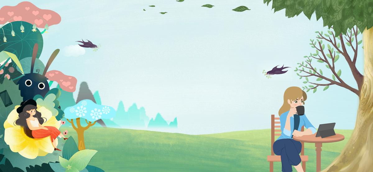 图片 > 【psd】 春季踏青文艺手绘野餐文艺蓝色banner  分类:卡通