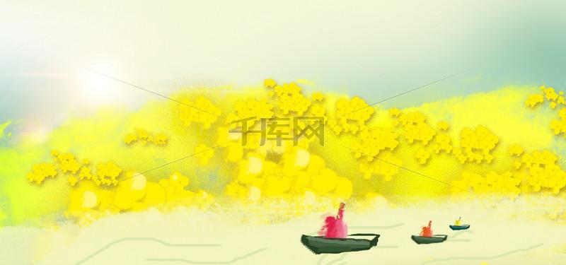 花小船油画渐变阳光抽象画背景图片免费下载 海报banner psd 千库