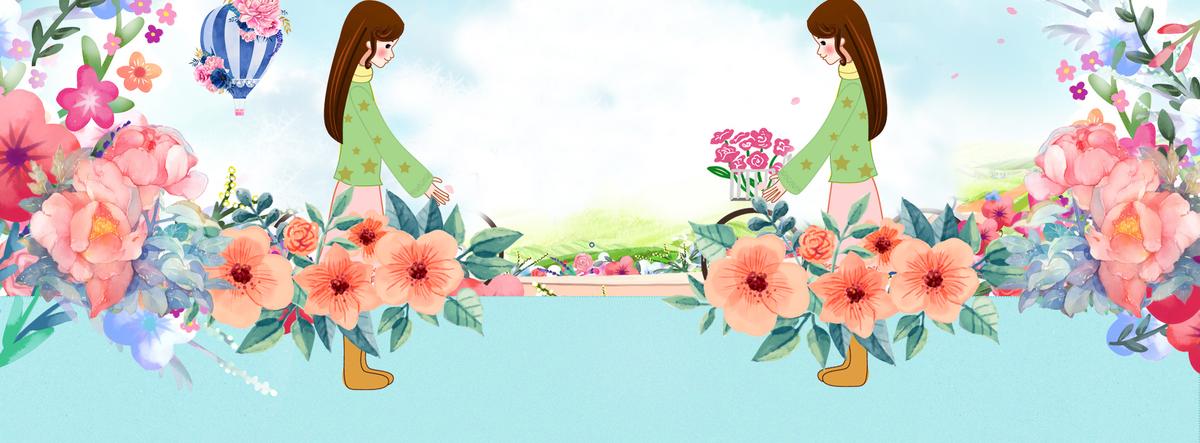 春游文艺手绘花朵蓝色背景