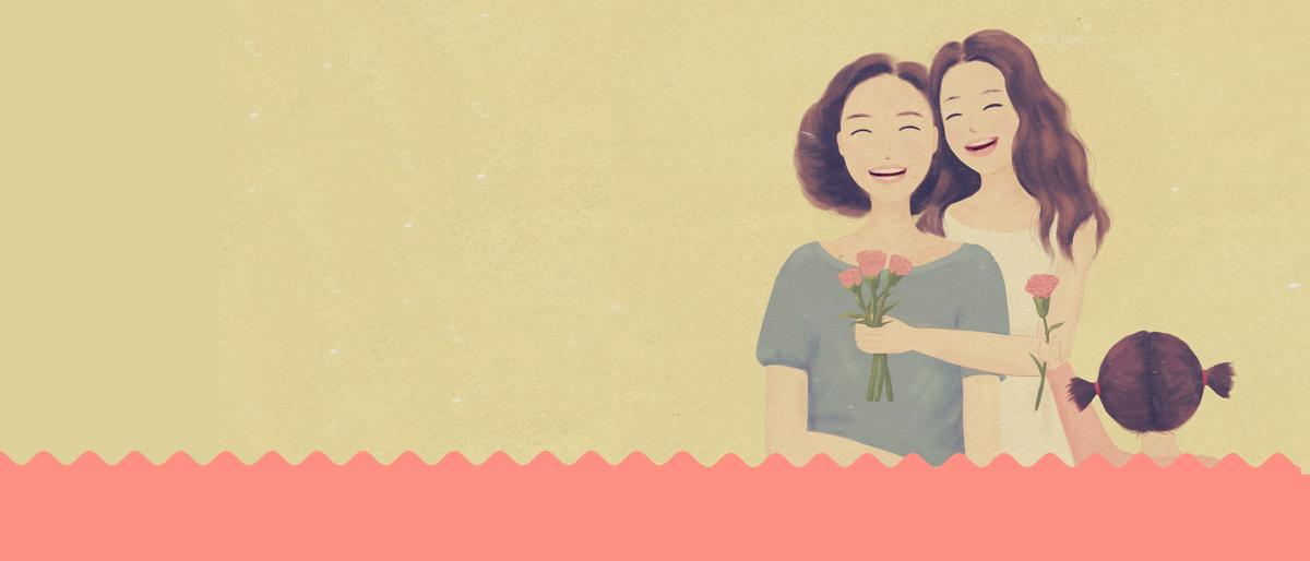 母亲节卡通手绘清新banner