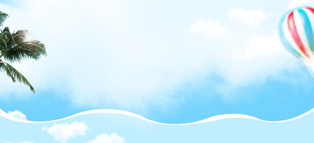 夏季小清新文艺热气球蓝色背景