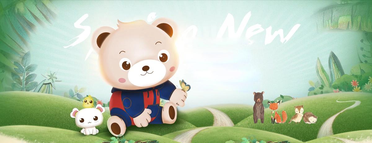 夏季小动物森林出游卡通童趣蓝色背景