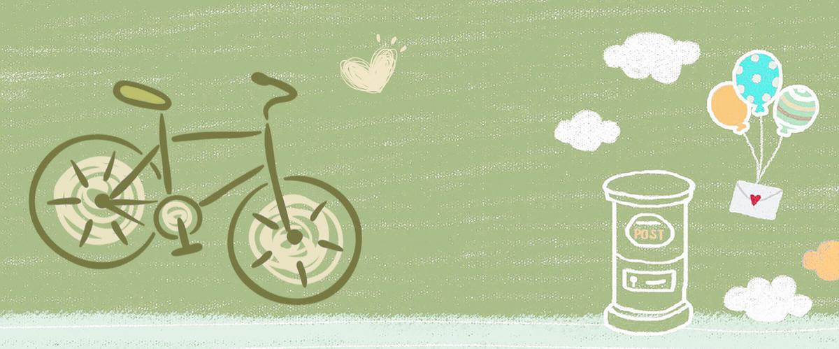 初夏小清新文艺自行车出游手绘绿色背景