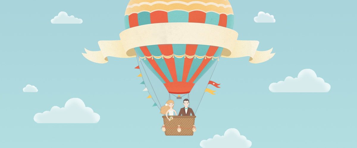 520表白节热气球海报背景