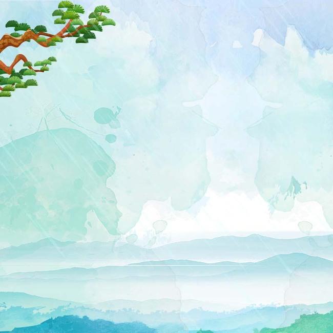 简约蓝色手绘背景促销主图