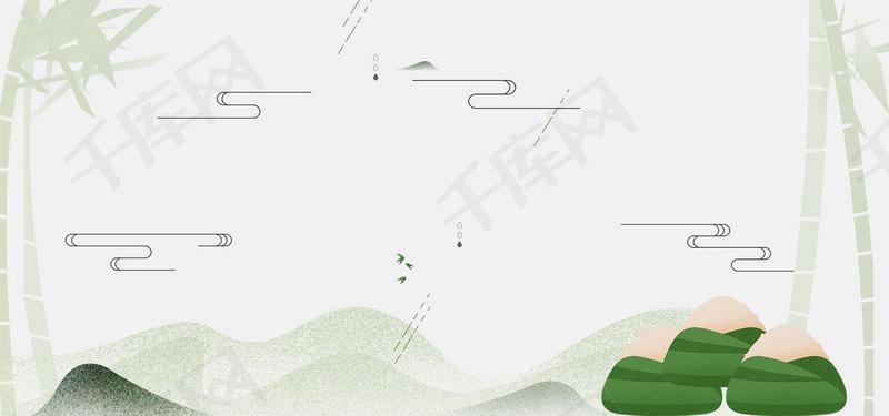 简约古风端午节海报banner背景