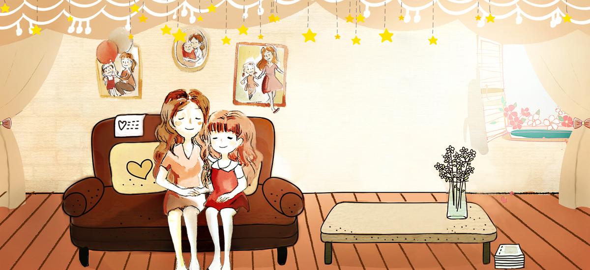 母亲节拥抱手绘温馨家庭星星背景