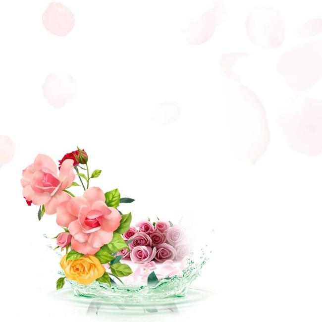 手绘花背景促销主图