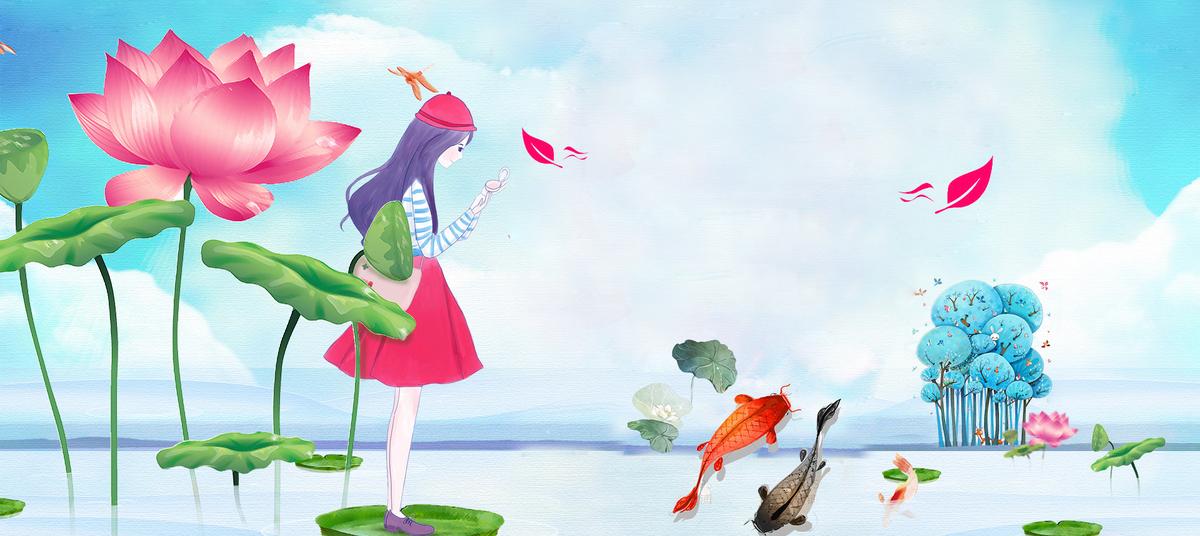 立夏荷花文艺手绘女孩金鱼油画背景