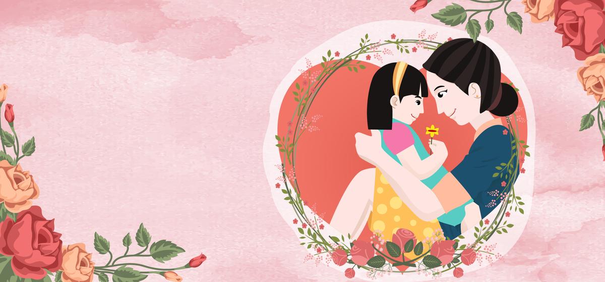 母亲节温馨手绘粉色banner