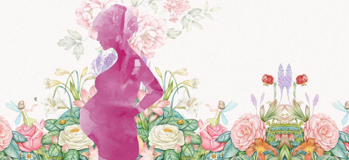 感恩母亲节浮云文艺手绘粉色背景